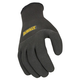 DeWalt 2 in 1 Cold Weather Thermal Gripper Work Glove - Black and dark gray thermal work glove with dark gray rubber coating and elastic wrist