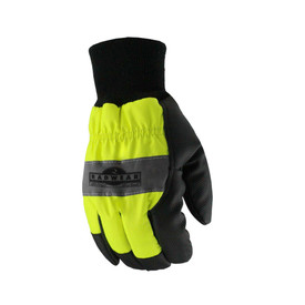 Radians Cold Weather Hi-Viz Waterproof Work Glove - High visibility yellow and black heavy work gloves with reflective strip across outer hand