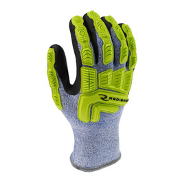 Radians ANSI A4 Level 5 Cut Protection Work Glove - yellow hi-visibility and light blue work glove with reflective stripe around palm and elastic wrist.