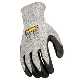 DeWalt Cut Level 5 Palm Dipped GripTough Glove - Speckled gray and black rubber coated safety work gloves with elastic wrist