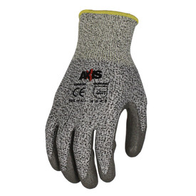Radians ANSI A2 Cut Level 3 Palm Dip Glove - Speckled light and dark gray safety work glove with dark gray coating and yellow hemming