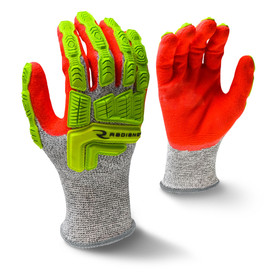 Radians ANSI 5 Cut Level 5 Oil & Gas Nitrile Palm Dip Glove - view of Radians speckled light and dark grey elastic work glove with a yellow and orange hi-visibility around the palm. Back view of Radians speckled light and dark gray elastic work glove with orange hi-visibility color around the palm.
