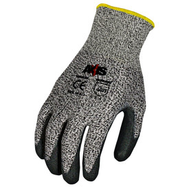 Radians ANSI A4 Cut Level 5 Nitrile Palm Dip Glove - speckled black and light gray elastic work glove with black stripe around the fingertips and yellow hemming.
