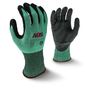 Radians ANSI A2 Cut Level 3 Nitrile Palm Coating Glove - view of Radians speckled black and green elastic work glove with black coating around the fingertips and brown hemming. Back view of Radians speckled black and green elastic work glove with black rubber coating and brown hemming.