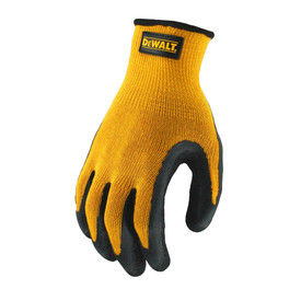 DeWalt Textured Rubber Grip Dipped Glove - High visibility orange and black rubber coated safety work glove with elastic wrist