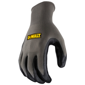 DeWalt ULTRADEX™ Smooth Nitrile Grip Dipped Glove - Dark gray and black coated safety work glove with elastic wrist