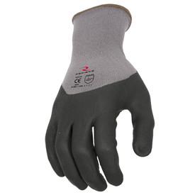 Radians 3/4 Foam Dipped Dotted Nitrile Anti-Slip Glove - Black and gray dipped work glove with elastic fit