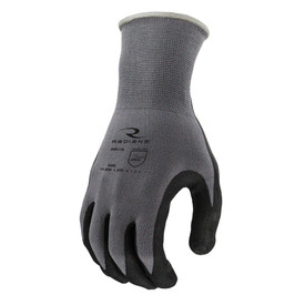 Radians Foam Palm Dipped Nitrile Glove - Dark gray and black coated safety work gloves with long elastic wrist