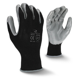Radians Gray Smooth Nitrile Coating Palm Coated Glove - view of Radians black smooth dipped work glove with grey coated around the fingertips and grey hemming. Back view of Radians black smooth dipped work glove with grey coated and grey hemming.