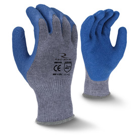 Radians Blue Crinkle Latex Dipped Glove - view of Radians light grey elastic dipped work glove with blue coating around the fingertips. Back view Radians light grey elastic work glove with blue coating around the palm.