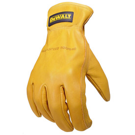 DeWalt Goatskin Leather Elastic Wrist Driver Glove - Bright yellow leather safety work glove with loose wrist