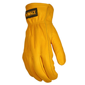DeWalt Premium Leather Elasticized Wrist Driver Glove - Bright yellow leather safety work glove with loose wrist, side view
