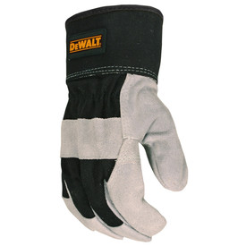 DeWalt Premium Split Leather Palm Driver Glove - Dark black and gray safety work glove with gauntlet style wrist guard