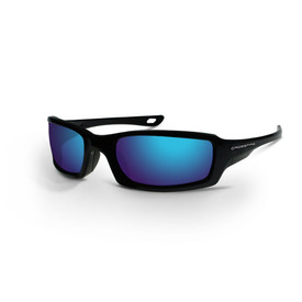 M6A CrossFire Premium Sleek Safety Glasses - CrossFire Full black frame safety glasses with blue mirrored lenses and rubber nose pad