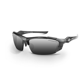 CrossFire TL11 Dual Rubber Temple Safety Glasses - CrossFire - Black half frame safety glasses with dark silver lenses, rubber temples, and adjustable nose pads