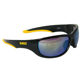 DeWalt Large Lens Dominator Safety Glasses - black and yellow frame safety work glasses with light blue lenses and rubber temples