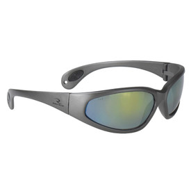 Radians T-70 Safety Glasses - Full WrapAround - grey full frame wrap around safety glasses with light green lenses and nose piece.