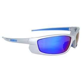 Radians Voltage Rubber Nosepiece Safety Glasses - white full frame safety glasses with electric blue lenses and rubber nose piece.