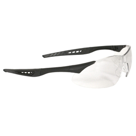 Radians Premium Wraparound Safety Glasses - Black frameless safety work glasses with rubber temples and clear lenses