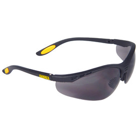 DeWalt Reinforcer Cushioned Rubber Temples Safety Glasses - black and yellow half frame safety glasses with smoke lenses and rubber temples.