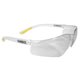 DeWalt Contractor Pro - Rubber Tipped Temples Safety Glasses - Clear frameless safety work glasses with peripheral protection and yellow temples