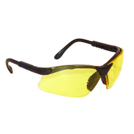 Radians Revelation - Ratcheting Temples Safety Glasses - black half frame adjustable temple safety work glasses with light yellow lenses.