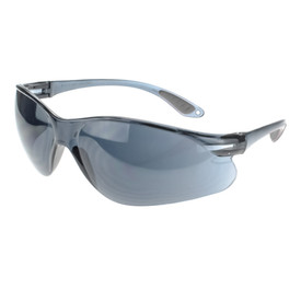 Radians Passage Lightweight Anti-Fog Length Safety Glasses - metallic blue half frame wrap around safety work glasses with metallic blue mirror lenses and grey temples.