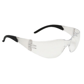 Radians Mirage RT WrapAround Anti-Fog Safety Glasses - black and clear frameless wrap around safety glasses with clear lenses.