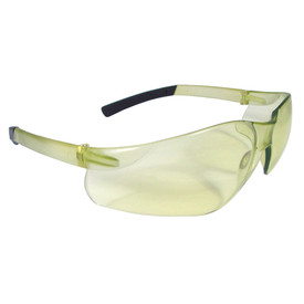 Radians RAD-ATAC One-Piece Lens Safety Glasses - pale yellow frameless safety glasses with pale yellow lenses and black temples.