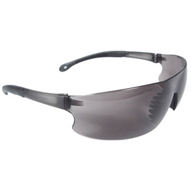 Radians RAD-SEQUEL Light One-Piece Lens Safety Glasses - black frameless safety glasses with smoke lenses and black temples and rubber nose piece.