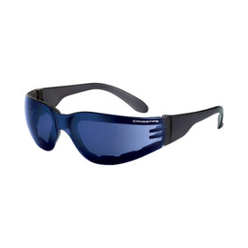 CrossFire Shield Foam Lined Frame HD Safety Glasses - CrossFire Black full frame foam padded safety glasses with blue mirrored lenses