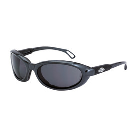 CrossFire MK12 Foam Lined Frame HD Safety Glasses - CrossFire Dark gray full frame safety glasses with dark gray lenses and adjustable temples