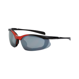 CrossFire Concept Foam Lined Frame Vented Safety Glasses - CrossFire Black and red half frame foam padded safety glasses with silver mirrored lenses