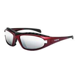 CrossFire Diamond Back Foam Lined Frame Safety Glasses - CrossFire Red full frame foam padded safety glasses with mirrored lenses
