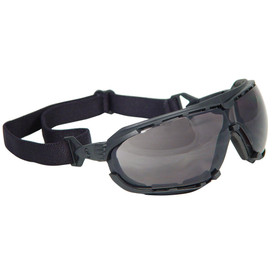 Radians Dagger Foam Lined Frame Safety Glasses - black full foam frame wrap around safety glasses with smoke lens and black convertible strap.