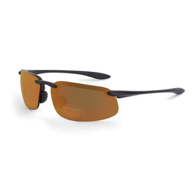 CrossFire ES4 Sleek Lightweight Bi-Focal Reader - CrossFire black styled half frame safety glasses with orange lenses and rubber temple and rubber nose pad.