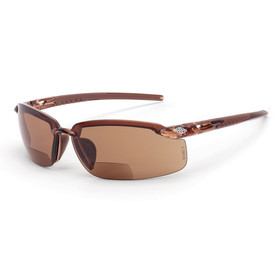 CrossFire ES5 Sleek Bi-Focal Reader Glasses 1.25 - CrossFire Brown styled half frame safety glasses with brown tinted lenses and rubber temples