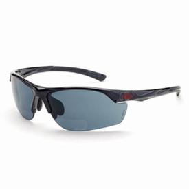 CrossFire AR3 Sleek Lightweight Bi-Focal Reader Glasses - CrossFire Black styled half frame safety glasses with dark gray lenses and rubber temples