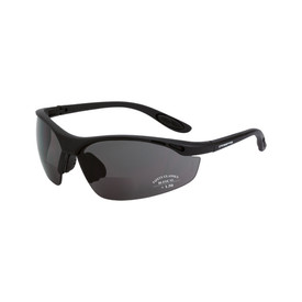 CrossFire Talon Vented Bi-Focal Reader Glasses - CrossFire Solid black half frame safety glasses with dark gray lenses and rubber temples