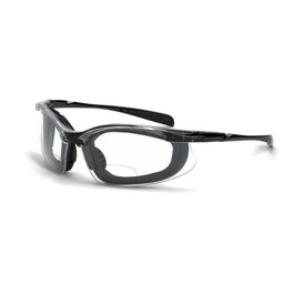 CrossFire Concept Foam Lined Bi-Focal Reader Glasses - CrossFire - Solid black full frame foam padded safety glasses with clear lenses