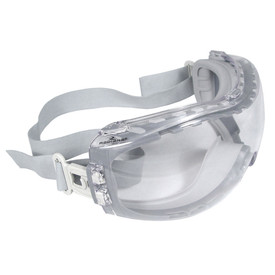 Radians Cloak Dual Injected Rubber Vented Safety Goggles - Light gray full frame Ski look safety goggles with clear lenses and stretchable gray strap
