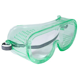 Radians Perforated Side Shield Safety Goggles - clear and green full frame safety goggles with clear lens and white and black strap. Right side angle view..