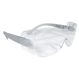 Radians Sheath Ratchet Adjustment OTG Safety Glasses - clear full frame wrap around safety work glasses with clear one-piece lens.