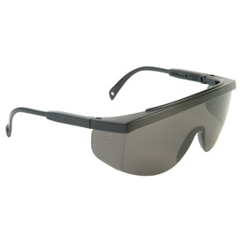 Radians Galaxy Extended Brow Guard OTG Safety Glasses - black half frame brow guard safety glasses with smoke one-piece lens