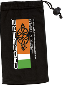 CrossFire Micro-Fiber Safety Glasses Bag - CrossFire Black drawstring adjustable glasses pouch with crossfire branding