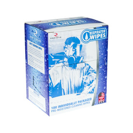 Respirator Wipes Individually Packaged - Made in USA - Radians blue and white box of 1 respirator wipes.