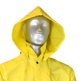 Radians DriDad 28 PVC Detachable Yellow Rain Hood - mannequin wearing Radians yellow rainwear detachable hood.