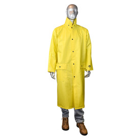 Radians DriDad 28 PVC Yellow Long Rain Coat - mannequin wearing grey long pants and Radians yellow rainwear long sleeve raincoat with collar, two side pockets, black buttons for closure and brown shoes.