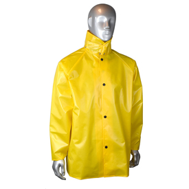 Radians Aquarad 25 Nylon Yellow Rain Jacket - mannequin wearing Radians nylon yellow rain long sleeve jacket with full collar and buttons for closure.