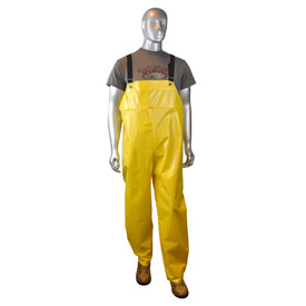 Radians Aquarad 25 Nylon Yellow Rain Bib Overall - mannequin wearing brown tee shirt over Radians nylon yellow rain bib overall with black strap and brown shoes.